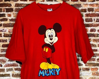 Vintage Mickey Mouse Men's XL Graphic Tee Shirt w/ Double Layered Roll Up Style Sleeves