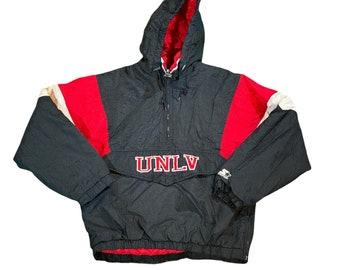 Vintage Early 90's Starter UNLV Men's Medium Pullover Half Zip Insulated Puffer Jacket Rare