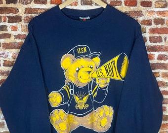 "Vintage USA Navy ""Teddy Bear"" Men's Large Crewneck Sweatshirt Rare"