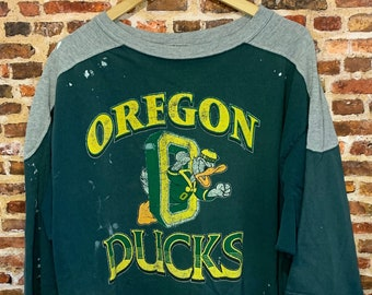 Vintage 90's Oregon Ducks Men's XL Paint Splattered 3/4 Tee Shirt Rare