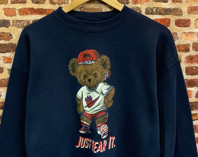 """Featured listing image: Vintage 90's """"Just Bear It"""" Polo Bear x Nike Men's Large Pullover Crewneck Sweatshirt"""