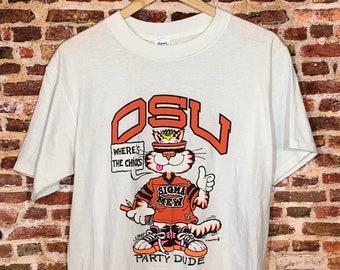 "Vintage Oregon State Beavers Men's Medium ""Frat Cat"" Tee Shirt One of a Kind"