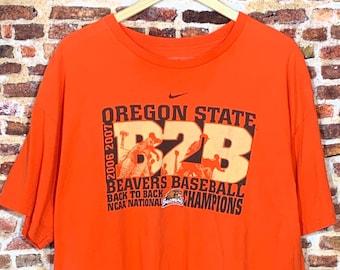 Vintage OREGON STATE Beavers 2006 & 2007 Back to Back Baseball Champs Men's XL Tee Shirt Rare made by Nike