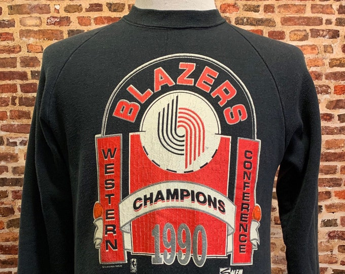 Featured listing image: Vintage 1990 Portland TRAIL BLAZERS Western Conference Champions Men's Med Pullover Crewneck Sweatshirt RARE