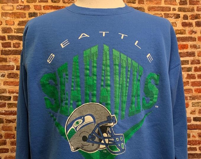 Featured listing image: Vintage Seattle Seahawks Men's XL Pullover Crewneck Sweatshirt RARE made by Nutmeg Mills