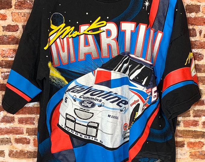 Featured listing image: Vintage NASCAR Mark Martin Men's Large All Over Print Graphic Tee Shirt