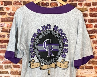 Vintage 90's COLORDADO ROCKIES Men's Large Button Up Baseball Jersey Style Tee Shirt RARE