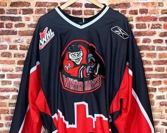 Vintage Portland WinterHawks 30th Anniversary Authentic On Ice Men's 54 (2XL) Hockey Jersey w/ Fight Strap made by Reebok