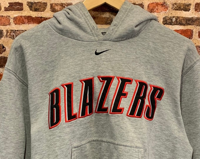 """Featured listing image: Vintage Nike Portland Trail Blazers Men's Small """"Middle Check"""" All Embroidered Hoodie Sweatshirt"""