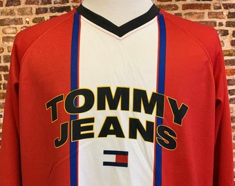 Vintage 90's TOMMY HILFIGER Jeans Men's 2XL Hockey Jersey RARE