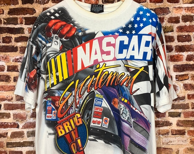 """Featured listing image: Vintage 90's NASCAR """"Bring on the Excitement!"""" Men's Large All Over Print Graphic Tee Shirt made by Chase Authentics"""