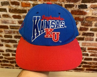 Vintage 90's KANSAS JAYHAWKS Strapback Hat RARE made by Pro Player