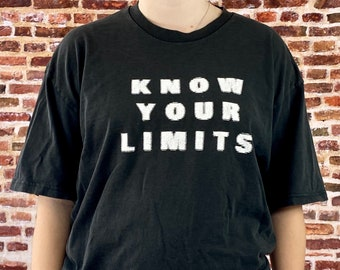 "Vintage 90's NIKE ""Know Your Limits and Ignore Them"" Men's Large Double Sided Graphic Tee Shirt RARE"