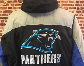 Vintage 90 s CAROLINA PANTHERS Men s Large Insulated Puffer Jacket Coat  made by Mirage RARE a8b77735d