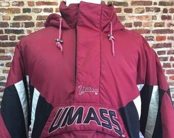 621de144a97e9f Vintage 90's UMASS MINUTEMEN Men's X-Large Starter Puffer Jacket Rare  Quarter Zip Coat