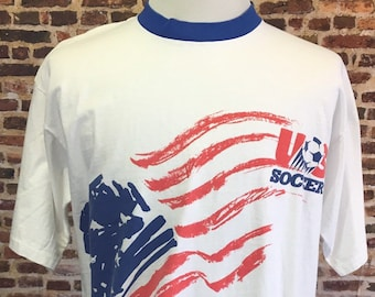 d85c36ab9 DEADSTOCK Vintage 90's USA SOCCER Men's Xl Umbro Shirt Rare Single Stitch  National Team White Flag World Cup Jersey New