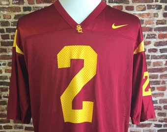 75729686487 Vintage USC TROJANS Football Men s Large Jersey made by Nike RARE