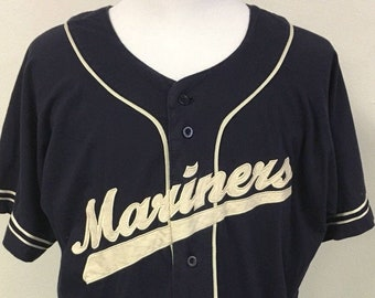 Vintage 80's SEATTLE MARINERS Men's Xl Russell Athletic Jersey MLB Baseball Rare Blue Button Up