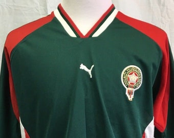 Vintage MOROCCO SOCCER Puma Men s XL Jersey Rare National Team World Cup  Tee Shirt Green Red 90 s 487925804