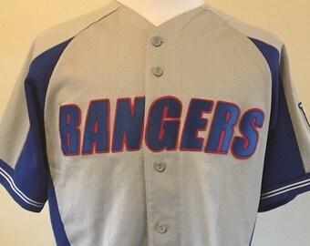53f657240 Vintage 90 s NEW YORK RANGERS Men s Large Jersey Majestic Rare Nhl Hockey  Baseball Style Button Up Grey 80 s Ccm Reebok Tee Shirt