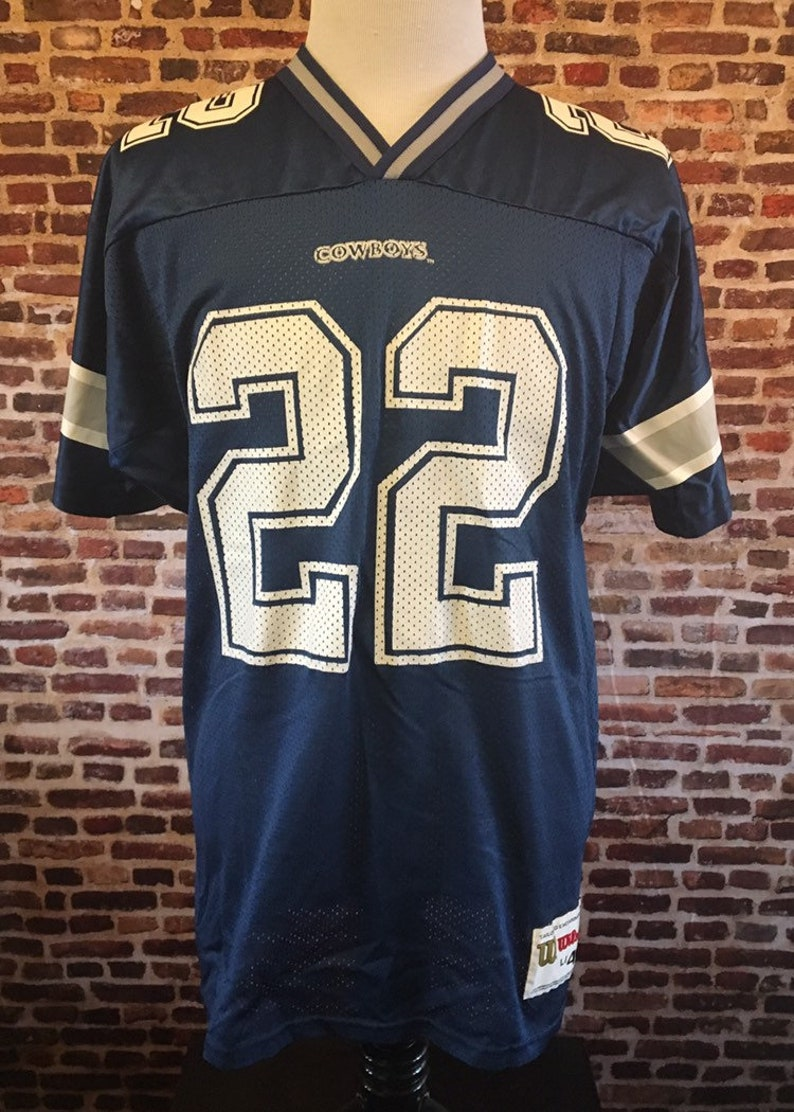 reputable site d51d9 8c238 Vintage 90's Emmitt Smith DALLAS COWBOYS Men's Large Jersey made by Wilson  RARE
