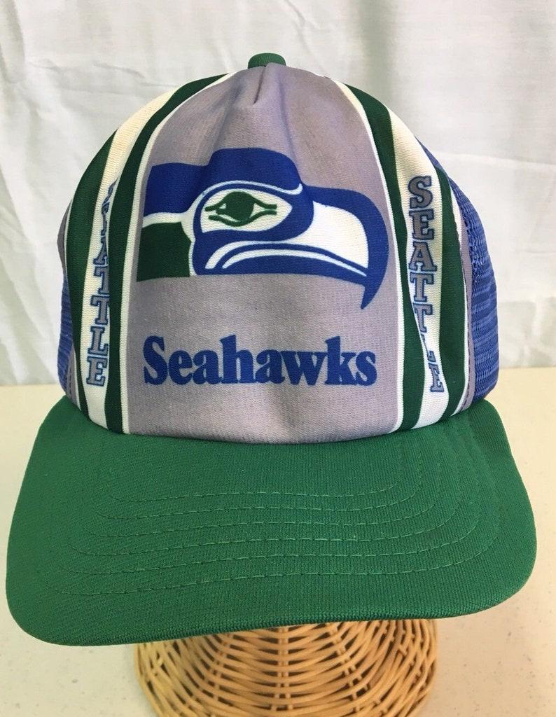 Vintage 80s SEATTLE SEAHAWKS New Era Snapback RARE Mesh  76a17568b546