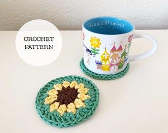 Crochet Pattern: Quick Cotton Flower Coaster // Crochet Coaster Pattern, Coaster DIY, Crochet Daisy Pattern, Crochet Sunflower Pattern