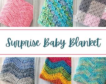 Surprise Baby Blanket - Crochet Baby Blanket, Toddler Blanket, Baby Shower Gift, Nursery Gift, Nursery Decor, Grab Bag Blanket, Mystery