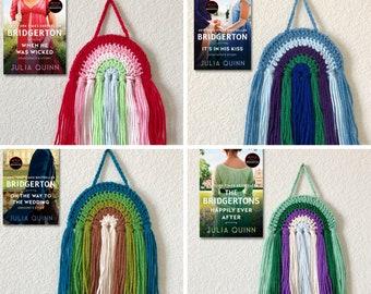Rainbow Wall Hanging // Crochet Rainbow Wall Hanger, Rainbow Wall Art, Yarn Rainbow Decor, Romance Novel Rainbow, Book Inspired Decor