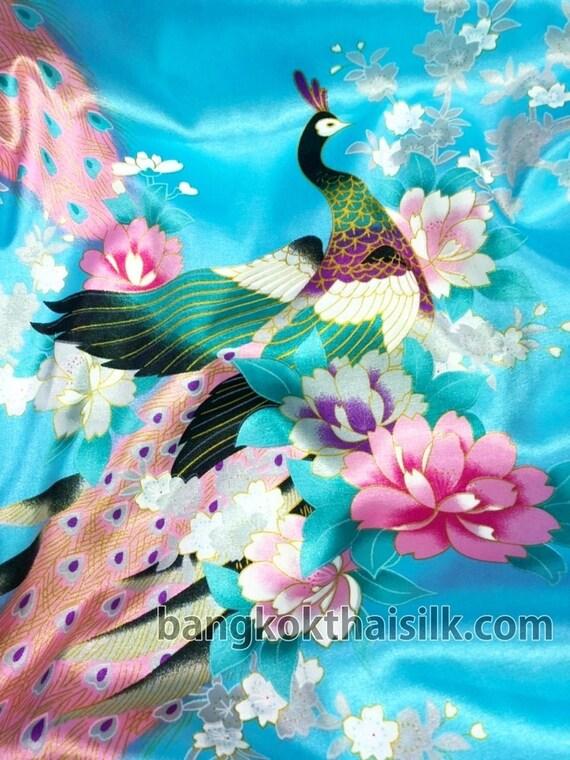 "Animal Print Peacock Dark Blue Faux Silk Satin 48/""W Fabric BTY Scarf Dress Drape"