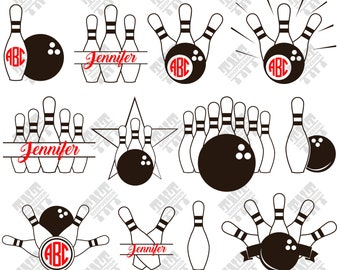 Bowling svg - Bowling vector - Bowling monogram digital clipart for Print, Design or more, files download svg, png, dxf