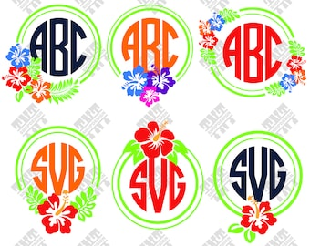Hibiscus svg - Hibiscus monogram svg - Hibiscus monogram digital clipart for Print, Design or more , files download svg, png, dxf