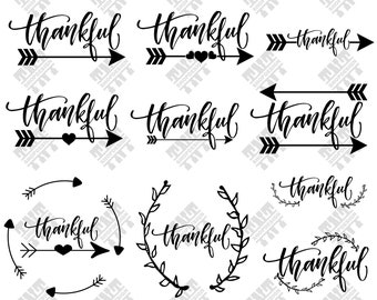 Thankful svg - Thankful vector - Thankful bundle - Thankful digital clipart for Print, Design or more, files download svg, png, dxf