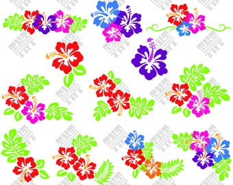Hibiscus svg - Hibiscus vector - Hibiscus bundle - Hibiscus digital clipart for Print, Design or more , files download svg, png, dxf