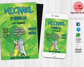 Rick and Morty Invitation, Rick and Morty, Rick and Morty Party, Digital file, Printable file, Rick and Morty Birthday Invitation #2501