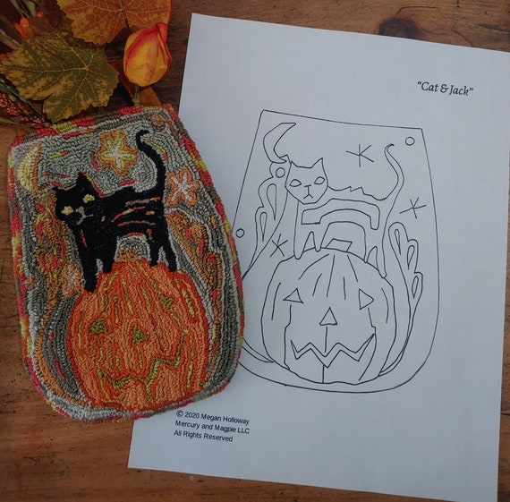 PDF Pattern Cat and Jack by Megan Holloway Halloween Folk Art pattern for embroidery needle punch rug hooking stitchery