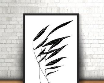 Leaf Line Art Minimalist,Printable Poster,Printable Art,Wall art,Wall decor,Home decor, Digital Print, Art Print,Modern Living