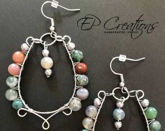 Silver teardrop hoops with multi-color stone beads