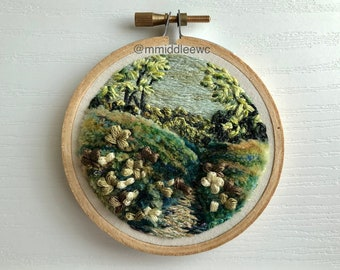 Nr. 144 Sea of Fluff - Hand Embroidery art piece, Embroidery hoop art, stump work, 3d embroidery, landscape embroidery art, greenery art