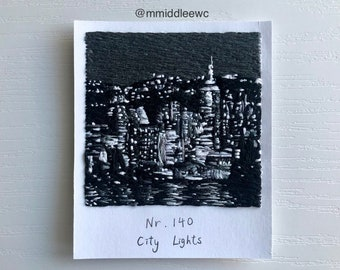 Nr. 140 City Lights  - Hand embroidery art, Embroidery on paper, thread painting, polaroid painting, black and white, Polaroid, city lights