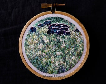 """Nr. 91 Breath Of Life - Hand Embroidery silk art piece, Embroidery hoop art, silk embroidery, hand stitch, landscape embroidery, 3"""" art"""