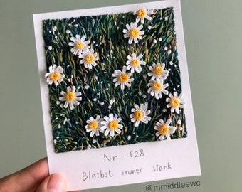 Nr. 128 Bleibst immer stark - Hand embroidery art, Embroidery on paper, thread painting, polaroid painting, landscape flower, crochet art