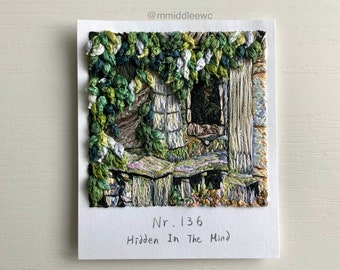 Nr. 136 Hidden In The Mind  - Hand embroidery art, Embroidery on paper, thread painting, polaroid painting, landscape embroidery, Polaroid