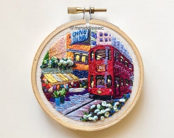 Nr. 97 Ding Ding - Hand Embroidery art piece, Embroidery hoop art, needle work, hand stitch, landscape embroidery, tram, Hong Kong