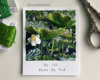 Nr. 130 Across The Pond - Hand embroidery art, Embroidery on paper, thread painting, embroidered polaroid, 3d embroidery, crochet art