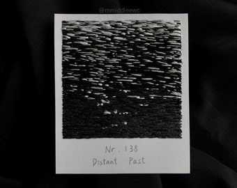 Nr. 138 Distant Past  - Hand embroidery art, Embroidery on paper, thread painting, polaroid painting, black and white, Polaroid, ripples