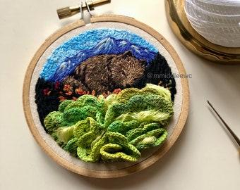 Nr. 99 Golden Bear - Hand Embroidery art piece, Embroidery hoop art, stump work, 3d embroidery, landscape embroidery art, legend bear