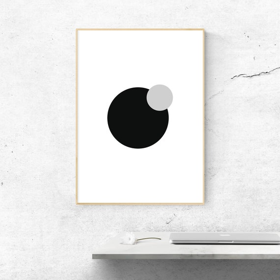 GEOMETRIC MONOCHROME CIRCLES NORDIC MODERN PRINT PICTURE POSTER WALL ART
