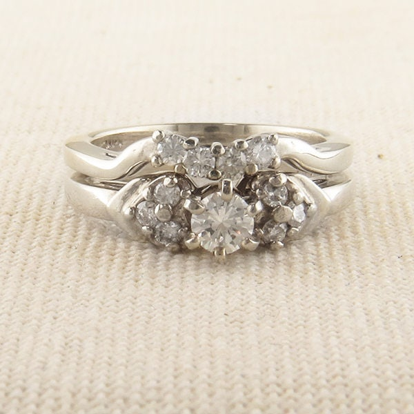 8e7d5b0cac514 Vintage White Gold Diamond Engagement and Wedding Set