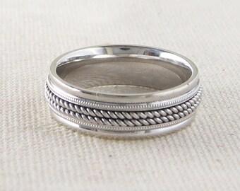 Men's Spinner Wedding Ring in 18K White Gold and Platinum